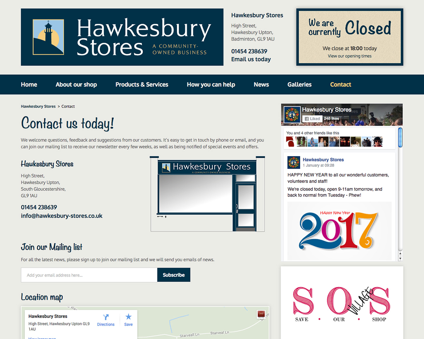 Hawkesbury Stores website