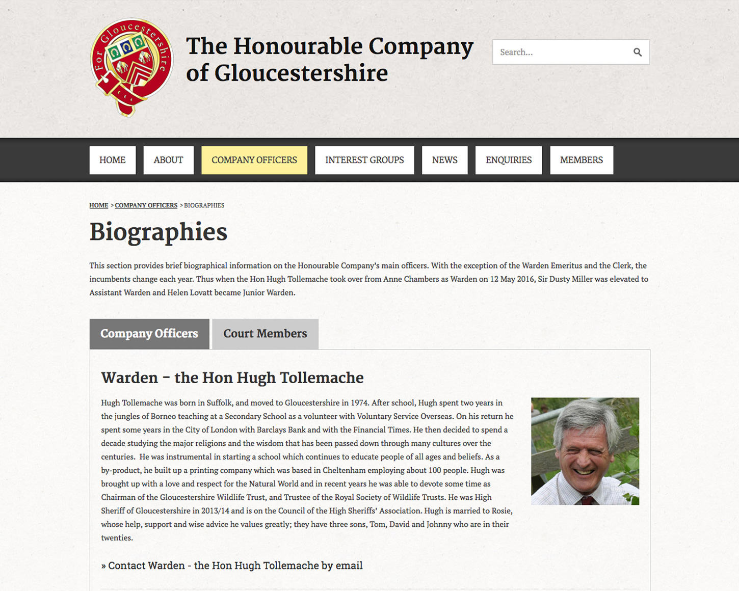 The Honourable Company of Gloucestershire website
