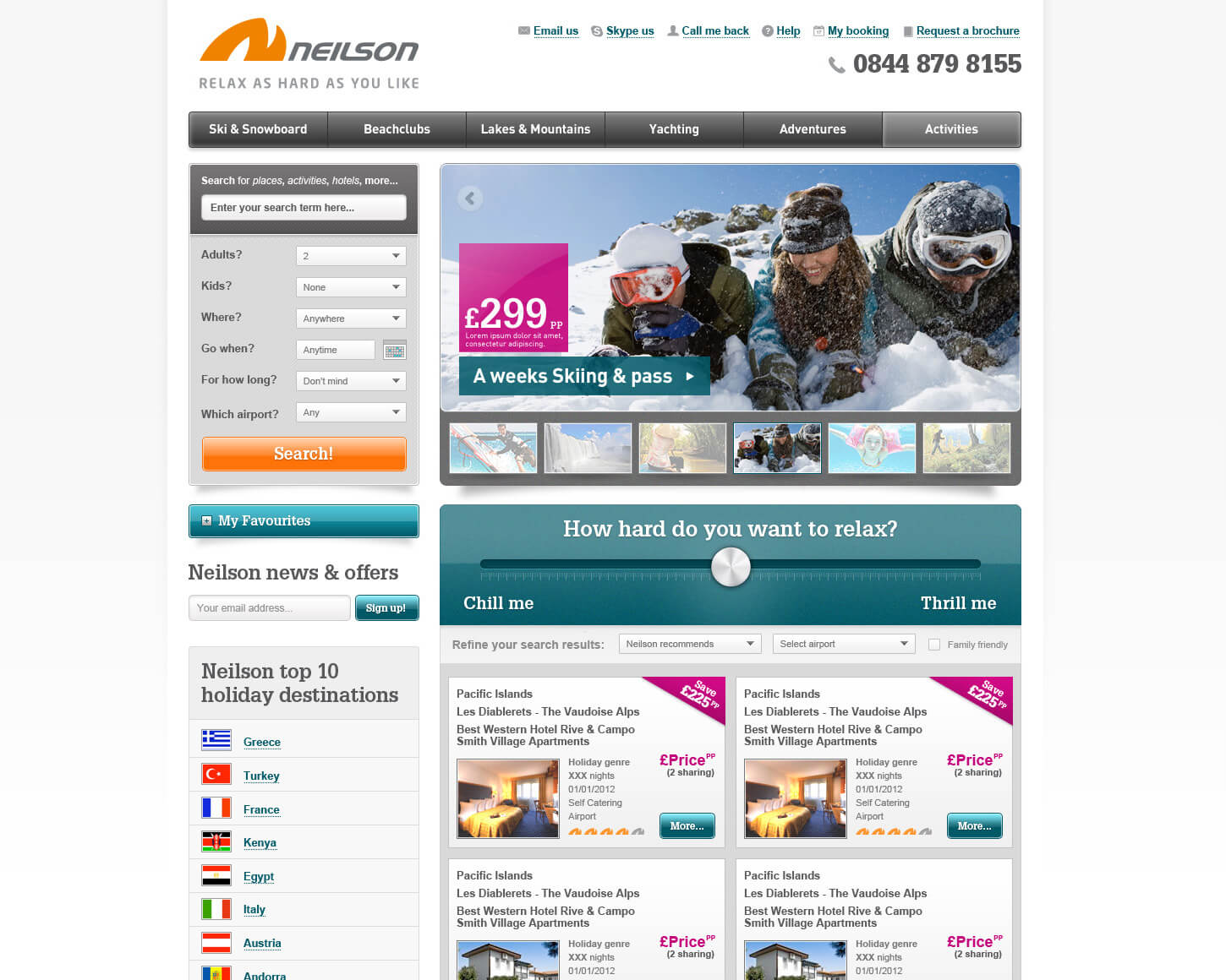 Neilson Holidays website homepage