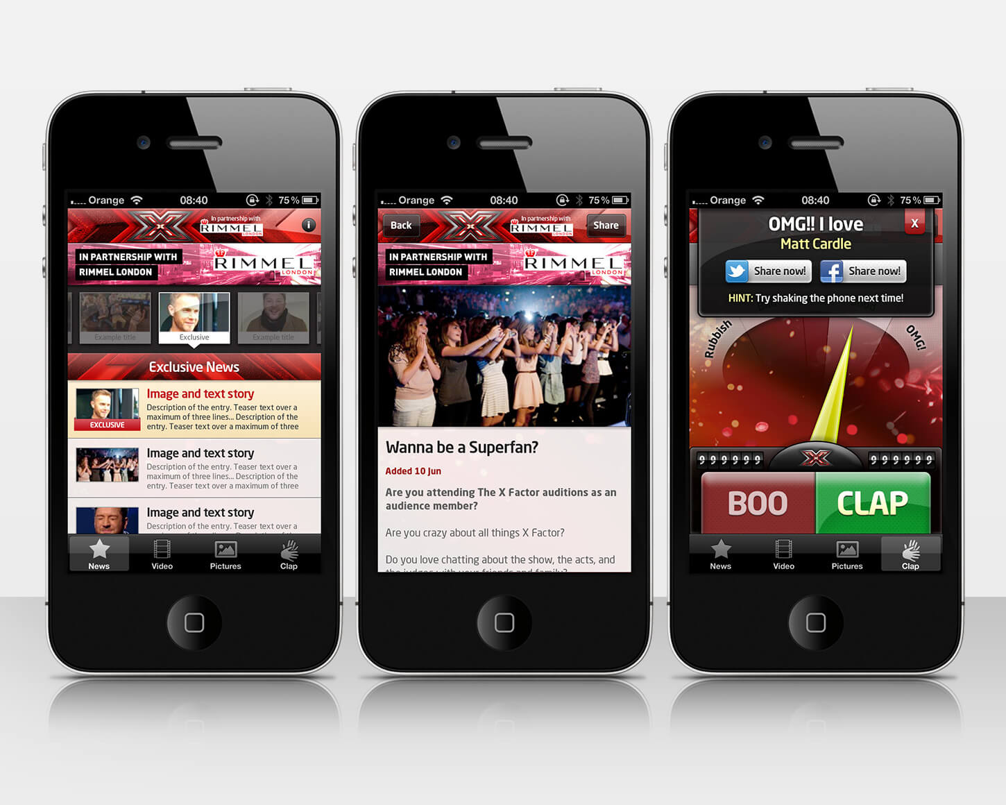 X Factor mobile apps
